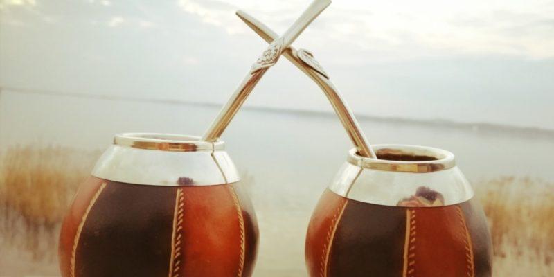 Tykwy z bombillami przy jeziorze - Yerba Mama